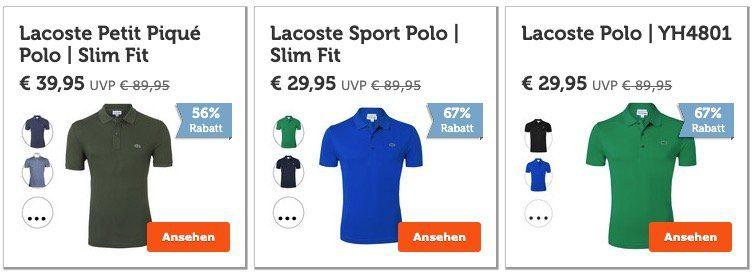 Lacoste Sale mit Restgrößen bei iBood   z.B. Poloshirt YH4801 für 29,95€ + VSK (statt 45€)