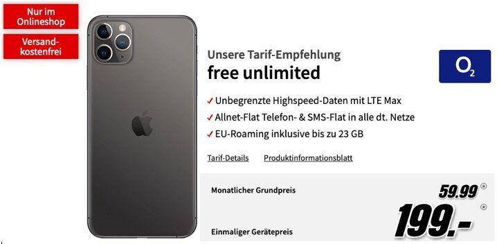 Apple iPhone 11 Pro Max 64GB für 199€ mit o2 Allnet Flat Unlimited LTE für 59,99€ mtl.   oder 256GB für 399€