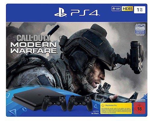 PlayStation 4 slim 1TB + 2 Controller + Call of Duty: Modern Warfare für 269,10€ (statt 299€)