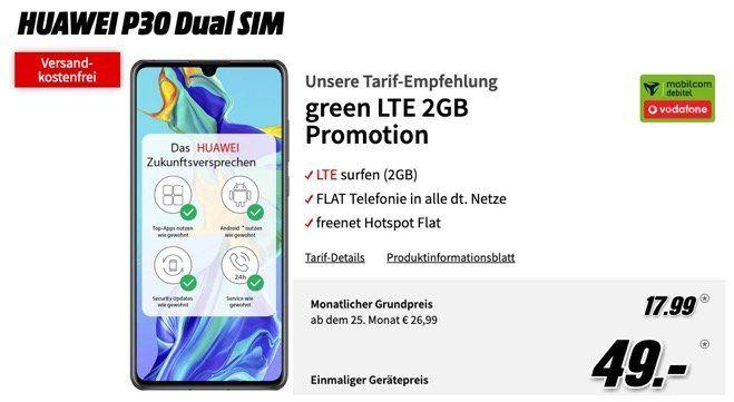 Huawei P30 für 49€ + Allnet Flat im Vodafone Netz mit 2GB LTE für 17,99€ mtl.