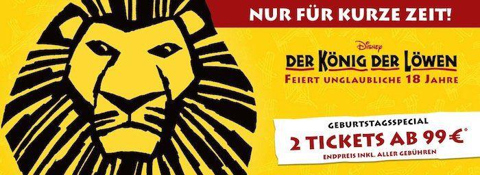2er Set Der König der Löwen Musical Tickets ab 99€   für Shows bis November 2020!