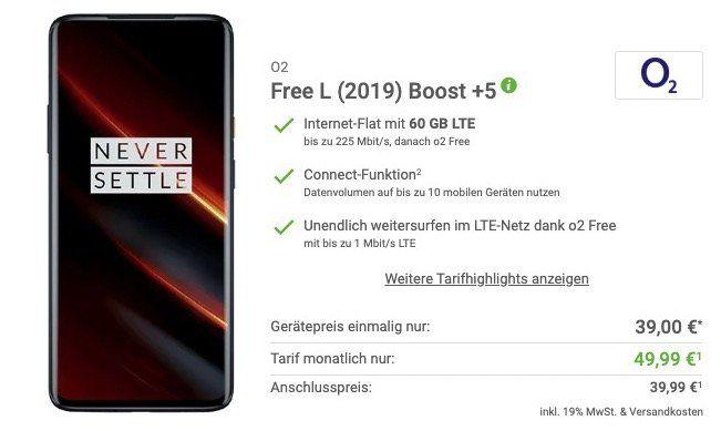 OnePlus 7T Pro McLaren Edition mit 256GB für 39€ + o2 Flat mit 60GB LTE für 49,99€mtl.