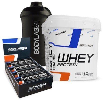 1kg Bodylab24 Whey Protein + 12 Protein Riegel + Shaker für 23,99€