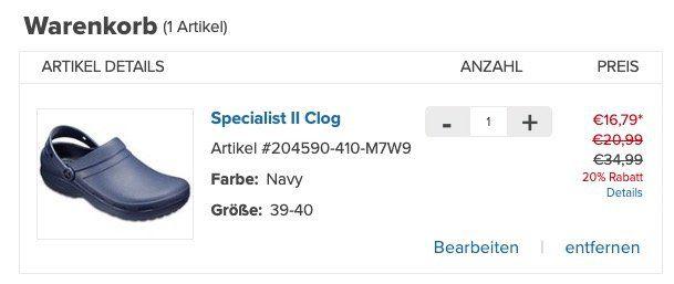 Knaller! Crocs mit bis zu  50% auf ausgewählte Schuhe + 20% Gutschein   z.B. Specialist II Clog nur 16,79€ (statt 26€)