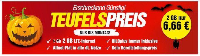 Vorbei! Allnet Flat mit 2GB LTE inkl. BILDplus (Wert 7,99€ mtl.) für 6,66€   monatlich kündbar