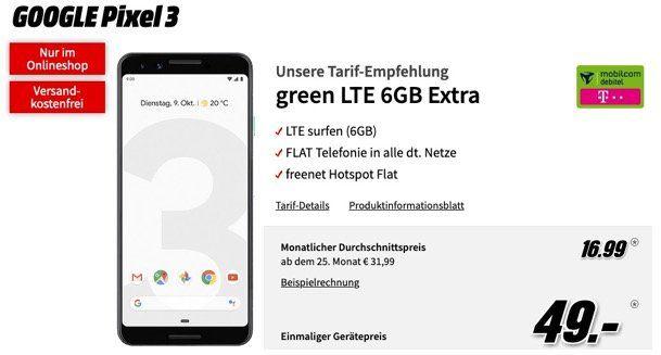 Google Pixel 3 für 49€ + Telekom oder Vodafone Flat mit 6GB LTE für eff. 16,99€ mtl.