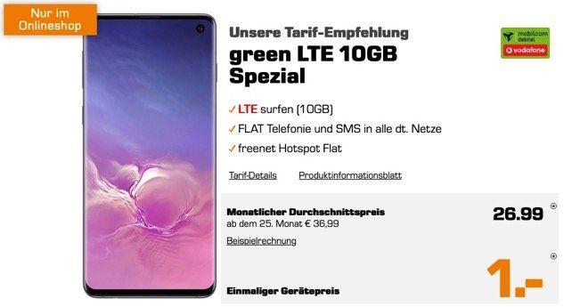 Samsung Galaxy S10 für 1€ + Vodafone Flat mit 10GB LTE für 26,99€ mtl.