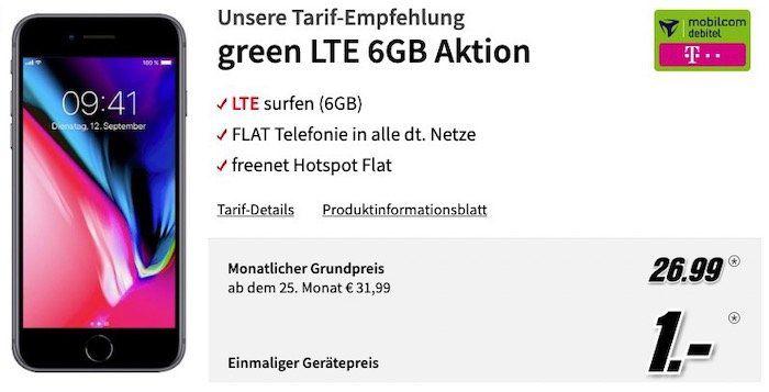 Apple iPhone 8 für 1€ + Telekom Flat mit 6GB LTE für 26,99€mtl.