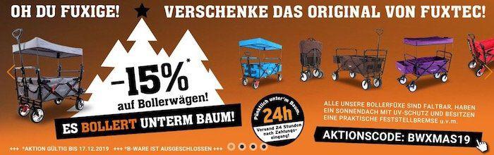 15% Rabatt auf alle Fuxtec Bollerwagen   z.B. FX CT700 für 142,80€ (statt 159€)