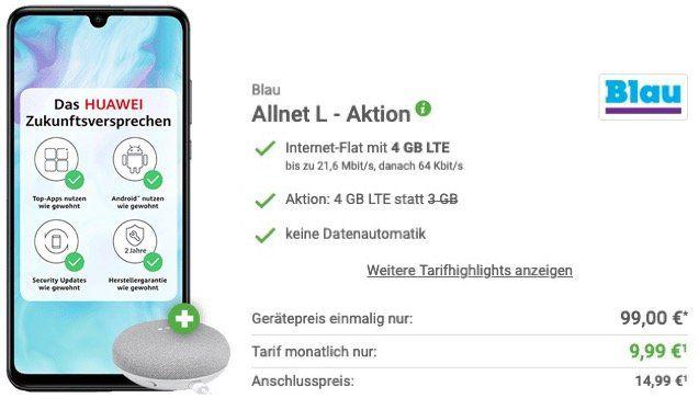 Huawei P30 lite + Google Home mini für 49€ + o2 Flat von Blau mit 4GB LTE für 9,99€ mtl.