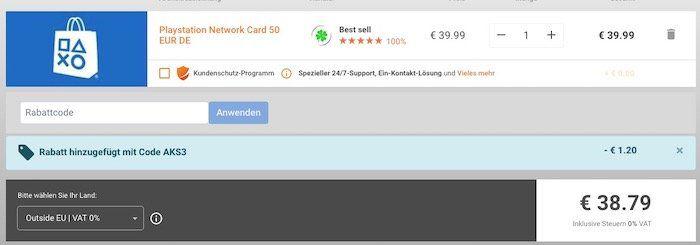 50€ PSN Guthaben für 39,68€ bei Gamivo
