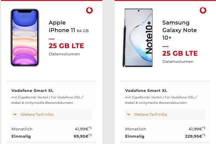 Vodafone Gigakombi/Unitymedia Angebote   z.B. Vodafone Flat 25GB LTE für 41,99€ mtl. + iPhone 11 für 69,95€