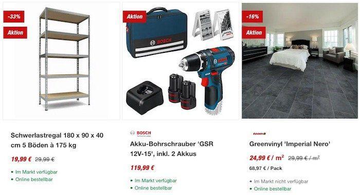 Letzte Chance: 15€ Gutschein beim Einkauf von mind. 100€ im toom Baumarkt Onlineshop