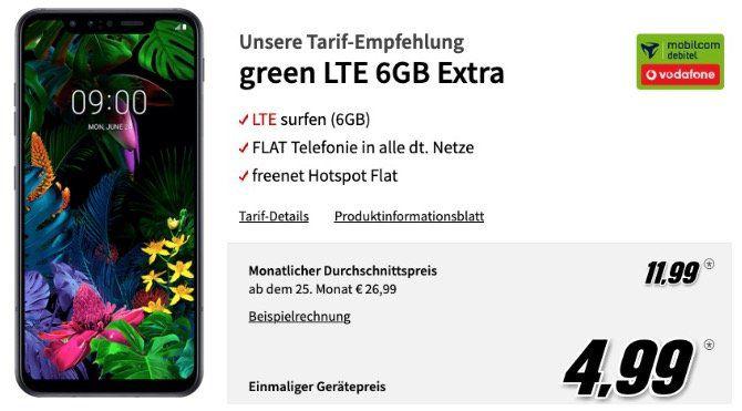 🔥 LG G8S ThinQ mit 128GB für 4,99€ mit Allnet Flat im Vodafone Netz mit 6GB LTE50 für 11,99€ mtl.