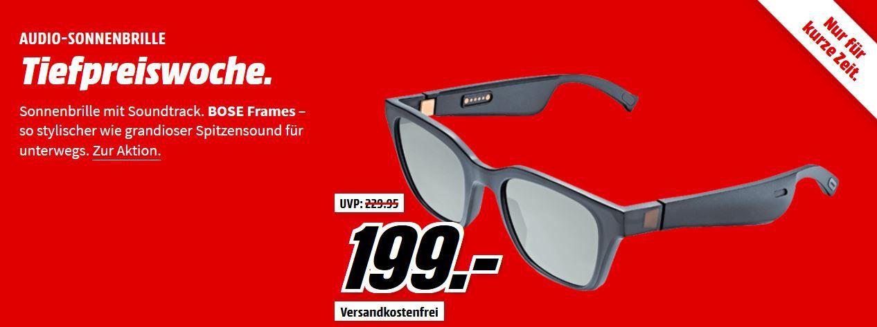 Media Markt Sound Tiefpreiswoche: Letzter Tag z.B. BOSE Frames Alto Audio Sonnenbrille Bluetooth für 199€ (statt 229€)