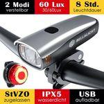 LED-Fahrradlicht für Vorne und Hinten (OSRAM LEDs, 60 Lux, 2 Leuchtstärke) mit Akku und IPX5 für 23,09€ (statt 33€)