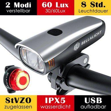 LED Fahrradlicht für Vorne und Hinten (OSRAM LEDs, 60 Lux, 2 Leuchtstärke) mit Akku und IPX5 für 23,09€ (statt 33€)