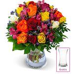 Rosenstrauß Farbwunder 40 Blüten inkl. Vase für 24,94€