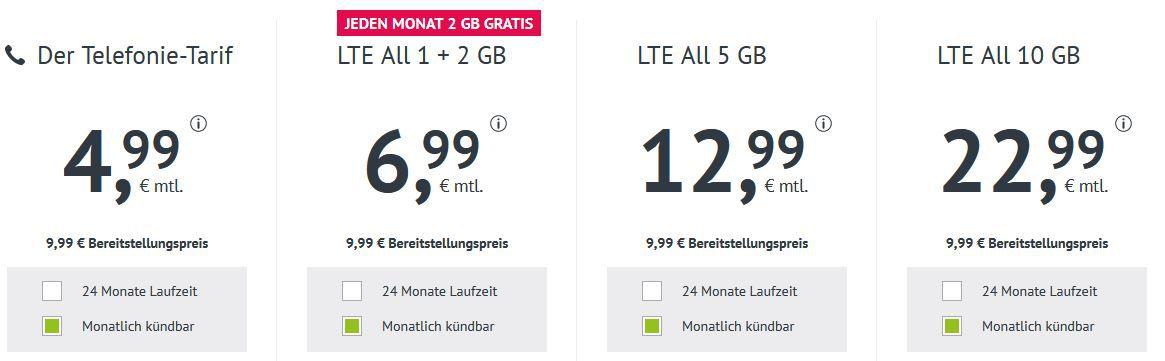 Allnet Flat im O2 Netz mit 3GB LTE 50 Mbit/Sek. für 6,99€   monatlich kündbar