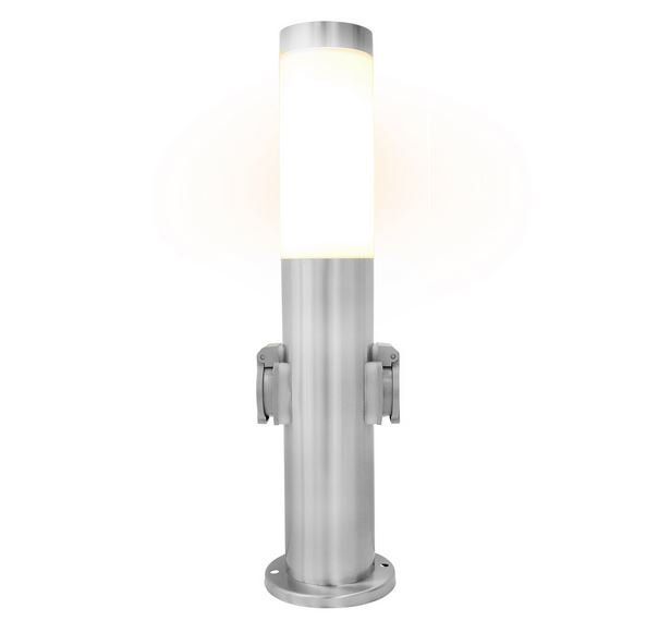 Garten Edelstahl Lampe 45 cm mit 2 Steckdosen für 19,99€ (statt 23€)