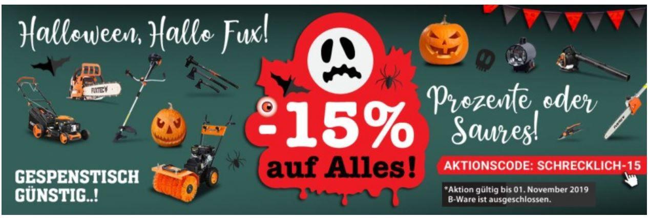 Fuxtec mit 15% Halloween Rabatt auf Alles ausser B Ware: z.B. FUXTEC Benzin 4in1 Laubsauger nur 106,25€ (statt 139€)