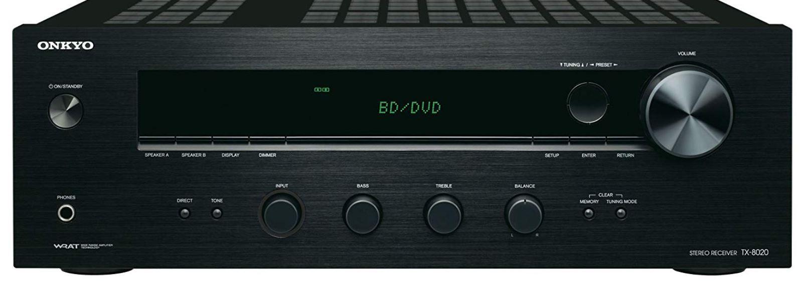 Onkyo TX 8020 Stereo Receiver 90 Watt Direktmodus 3 Digital/5 Analogeingänge für 133€ (statt 149€)