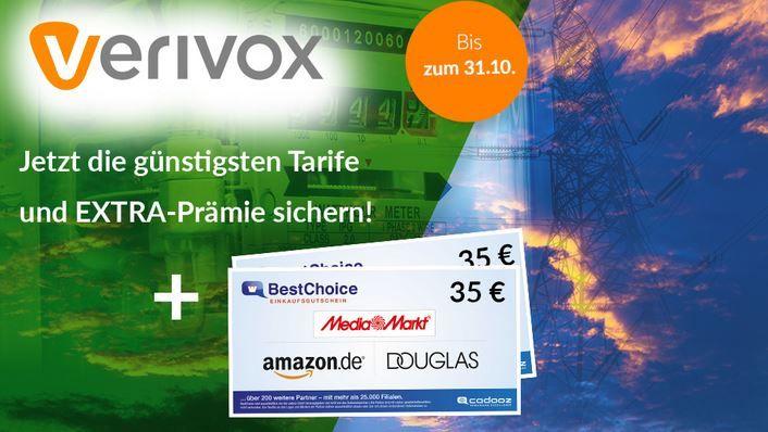 Endet morgen: Verivox Tarifcheck: zum günstigsten GAS & Strom Anbieter wechseln + 35€ BestChoice Gutschein kassieren