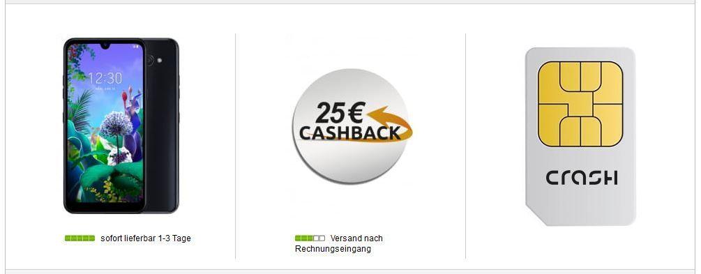 LG Q60 64GB Smartphone für 4,99€ (statt 140€) + Vodafone AllNet + 4GB LTE Flat für 9,99€ mtl. + 25€ Cashback
