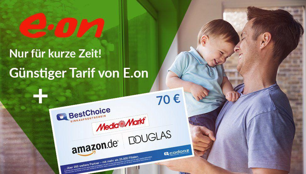 e.on Strom  und Gastarife mit 70€ BestChoice Gutschein   günstiger als Verivox und Check24!