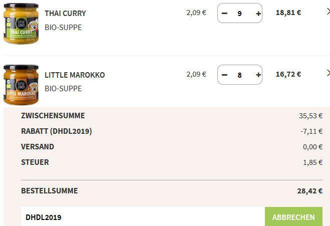 🔥 Little Lunch: bis  45% auf Eintöpfe   z.B. Little Marokko & Thai Curry für 1,67€(!!) (statt 2,99€) + VSK frei ab 17 Suppen