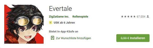 Android: Evertale kostenlos (statt 0,50€)