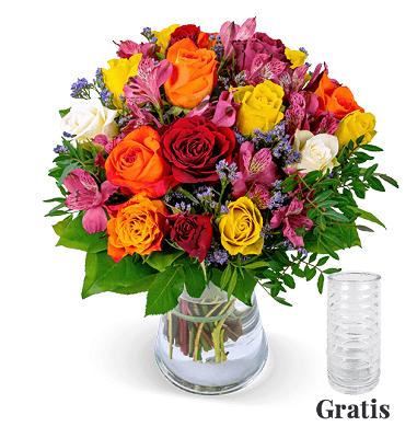 Rosenstrauß Farbtraum für 27,98€ + gratis Vase