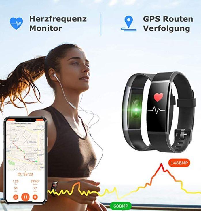 Letsfit Fitness Armband mit Pulsmesser Wasserdicht für 23,39€ (statt 36€)