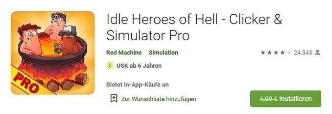 Android: Idle Heroes of Hell   Clicker & Simulator Pro gratis (statt 1€)