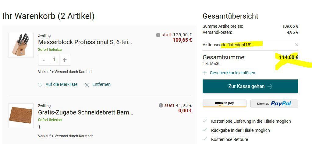 Zwilling Messerblock Professional S 6 teilig + Schneidebrett für 114,60€ (statt 201€)