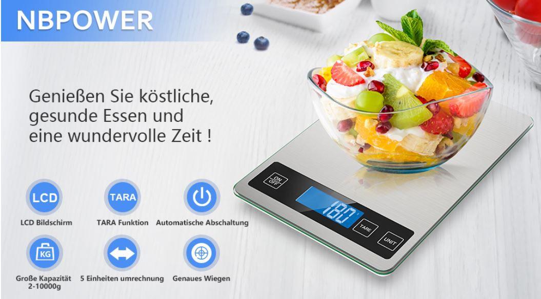 NBPOWER Küchenwaage bis 10kg mit Glasoberfläche ab 13,98€ (prime) statt 20€)
