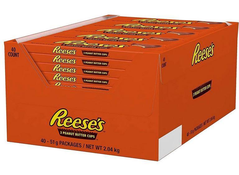 Vorbei! Reeses 3 Peanut Butter Cups 40x51g  (2 kg)   Original US Ware für 19,23€ (statt 35€)