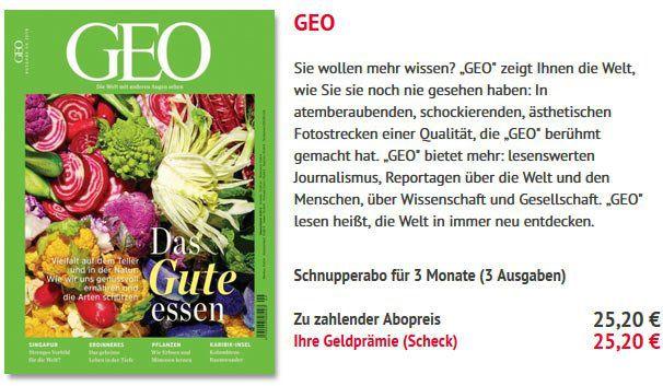 3 Ausgaben GEO für 25,20€ + 25,20€ Verrechnungsscheck