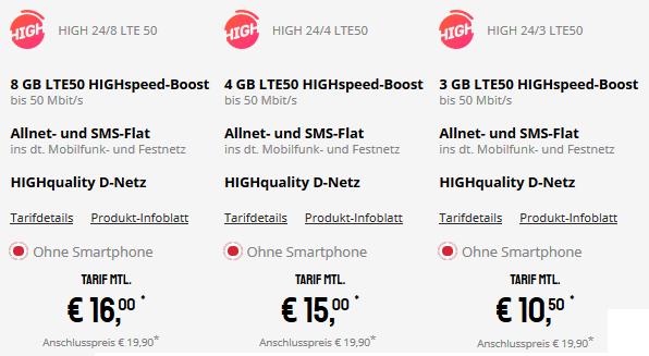 TOP! Telekom Flat von Sparhandy mit 8GB LTE für 16€ mtl.
