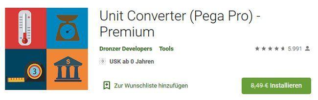 Android: Kostenlos Unit Converter (Pega Pro)   Premium (statt 8,49€)