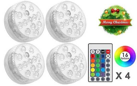 4er Pack: RGB LED Dekolichter mit Fernbedienung & vielen Modi für 8,49€   Prime