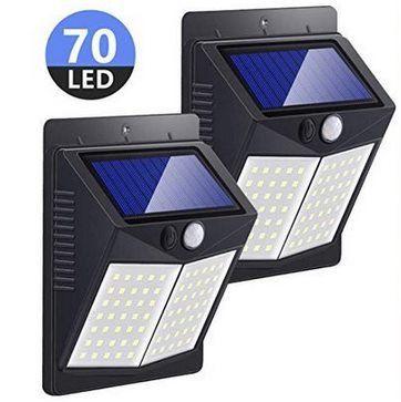 2er Pack: Solar Außenleuchte mit Bewegungsmelder & 70 LEDs für 13,49€ (statt 27€)