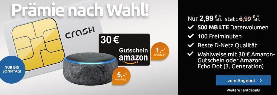 Telekom Netz: 500 MB LTE & 100 Freiminuten für 2,99€ mtl + 30€ Amazon Gutschein oder Echo Dot für 5€