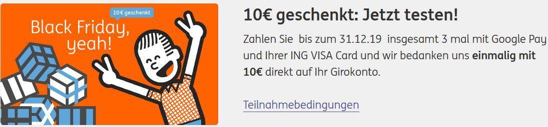 ING: 3x mit Google Pay zahlen & 10€ erhalten