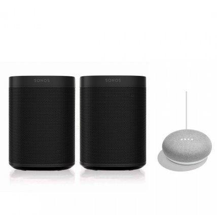 2er Pack Sonos One SL mit WLAN und AirPlay2 + Google Nest Mini für 339,95€ (statt 398€)