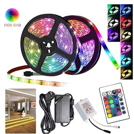 2er Pack: Hengda RGB LED Stripes 5m 5050 LEDs inkl. Fernbedienung für 17,28€ (statt 25€)