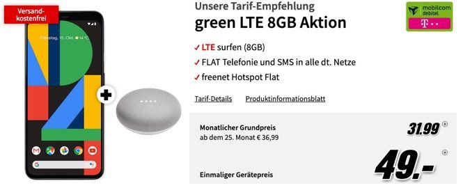 Google Pixel 4 + Home Mini für 49€ mit Telekom Allnet Flat mit 8GB LTE für 31,99€ mtl.