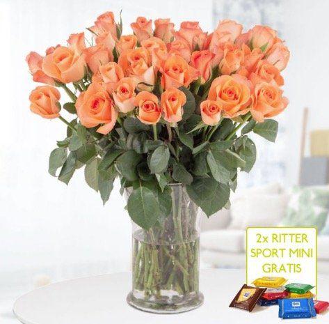 40 orange Rosen (40cm) + 2 gratis Ritter Sport Mini Schokis für 24,90€