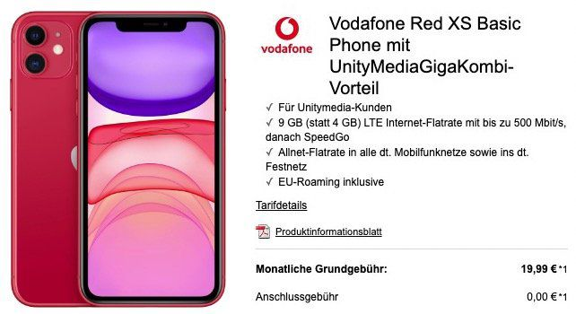 Für Unitymedia Kunden: iPhone 11 mit 128GB für 429€ + Vodafone Flat mit 9GB LTE für nur 19,99€ mtl.