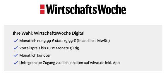 1 Jahr WirtschaftsWoche Digital mit 50% Rabatt für nur 9,99€ mtl. (statt 20€)